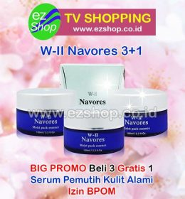 WII | W2 | W-II Navores Moist Pack Essence Serum, Cream, Krim, Obat Pemutih Kulit Wajah Alami Asli Ez Shop Tv Shopping Asia Pacific Izin BPOM Indonesia
